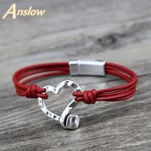 Anslow Fashion Jewelry Vintage Retro Handmade DIY Charm Heart Leather Magnetic Bracelet For Women Men Black Friday  LOW0742LB
