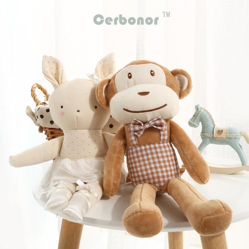 2018New Baby Plush Toys Soft Cute Kawaii Monkey Rabbit Dolls Newborn Kids Sleeping Stuffed Girls Boys Birthday Christmas Gift