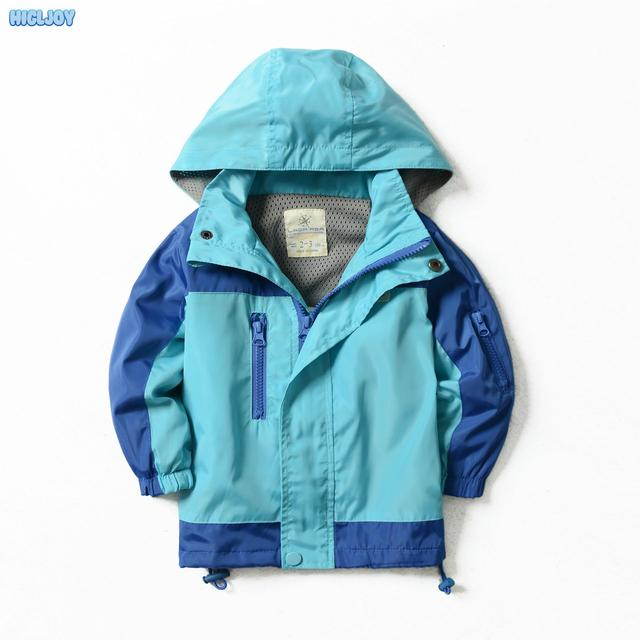 2016 New Children Clothing Boys Autumn Hooded Long-Sleeved Kids Jackets Winter Trench Coat Windbreaker For Girls Blue And Green