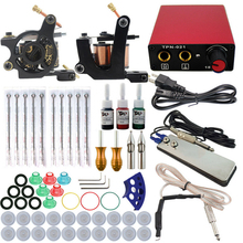 Complete tattoo kit 2 guns machines 3 ink sets power supply disposable needle Cord Kit Body Beauty DIY Tool free shipping