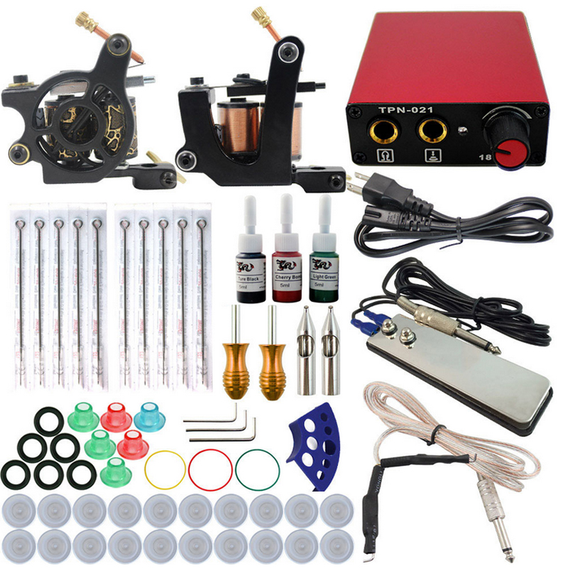 Complete tattoo kit 2 guns machines 3 ink sets power supply disposable needle Cord Kit Body Beauty DIY Tool free shipping 100pcs box zhongyan taihe acupuncture needle disposable needle beauty massage needle with tube
