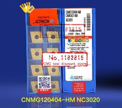 Free shipping Korloy CNMG120404 HM NC3020 10PCS hard alloy inserts MCLNR MCKNR for processing steel