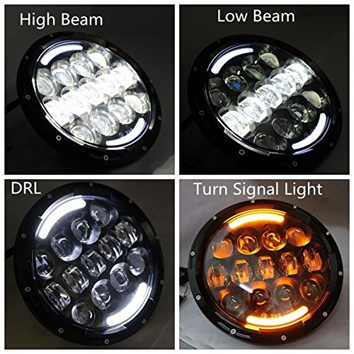где купить For Land Rover 90/110 Defender Lada 4x4 urban Niva 105W 7inch round headlight Led DRL/Turn Signal light For Jeep Wrangler JK TJ дешево