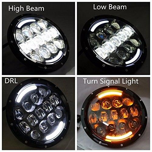 Pour Land Rover 90/110 Defender Lada 4x4 urbain Niva 105 W 7 pouces phare rond Led DRL/Clignotants lumière Pour Jeep Wrangler JK TJ