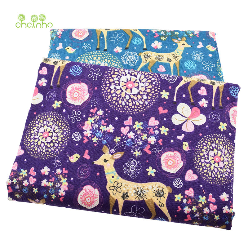 Trykt bomullslinne Stoff til Patchwork Quilting Sy DIY Sofa Table Cloth Møbel Cover Tissue Gardin Pute Pute Fabric