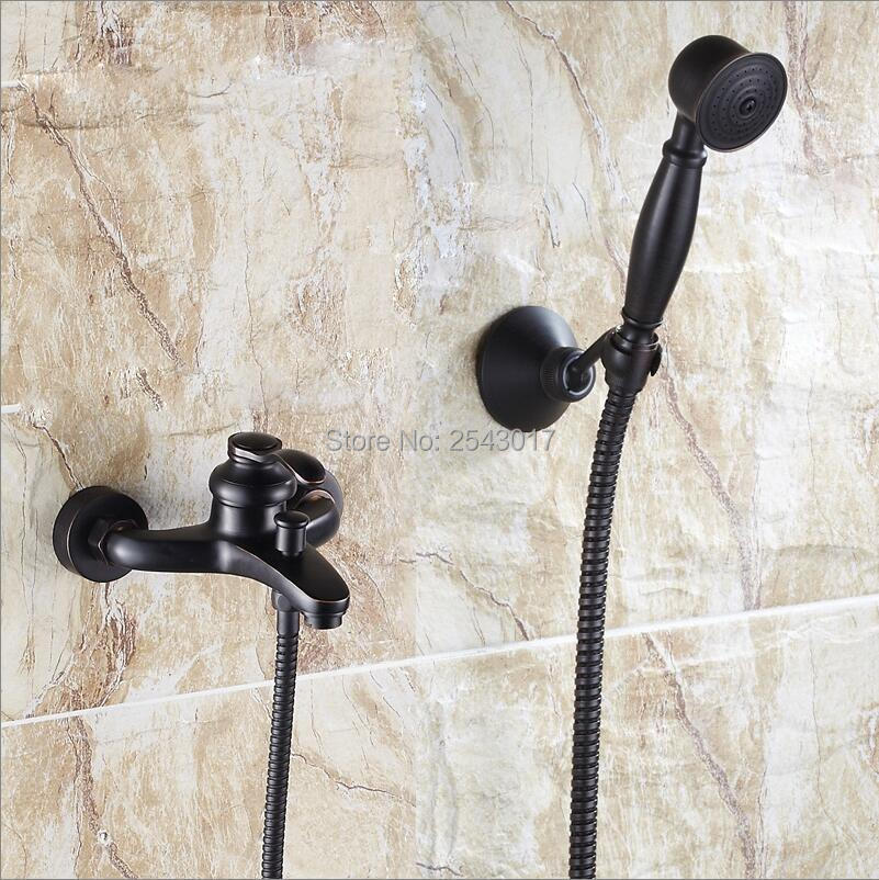 Luxury Bathroom Black Shower Faucet with Hand Shower Wall Mount Single Handle Solid Brass Bathtub Shower