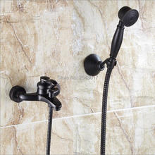 Luxury Bathroom Black Shower Faucet with Hand Shower Wall Mount Single Handle Solid Brass Bathtub Shower Mixer ZR031