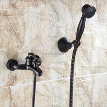 Robinet de douche de luxe, robinet de douche noir avec douche à main à une poignée murale mélangeur baignoire et douche en laiton massif ZR031