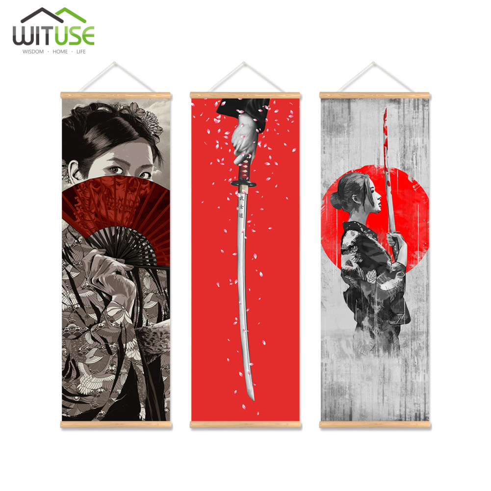 Us 29 29 25 Off 3x Wall Art Picture Print Hanging Canvas Wood Hanger Scroll Painting Japanese Samurai Poster For Living Room Wall Decor 40x120cm In
