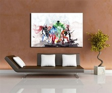Watercolor Abstract Avengers Movie Poster Print in Canvas Home Living Room Bedroom Art Paintings Mural Frameless