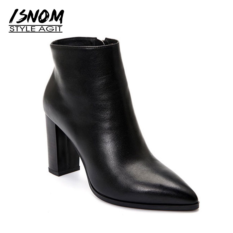 ISNOM Autumn Thick High Heels Women Boots Genuine Leather Bootie High Neck Pointed Toe Female Shoes Zip Winter Warm Footwear full grain leather thick warm flame patchwork lady winter fashion boots pointed toe genuine leather high heels shoes 1109