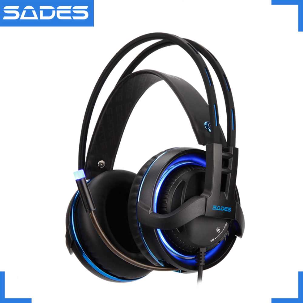 SADES Diablo Realtek Effect Gamer Headphones RGB Gaming Headset Headphone with Retractable Microphone sades sa708 gaming headphones w microphone white grey red 3 5mm plug 220cm cable