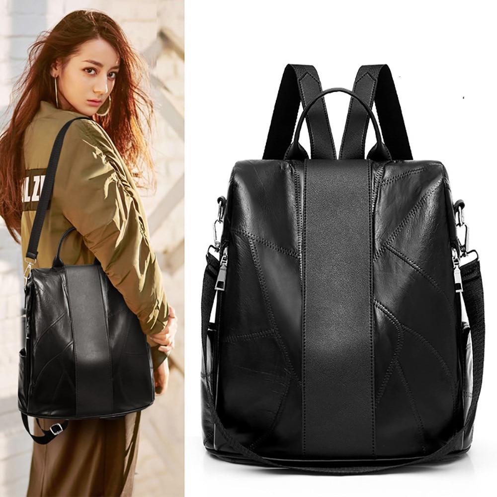 Women Leather Japan And Korean Style Satchels Zipper Bag Sheepskin Backpack Soft Leather Large Capacity Travel Bag Mochilas