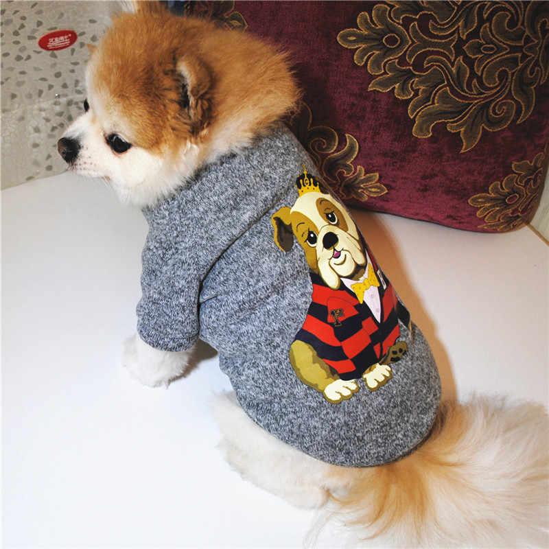 2019 春秋のペット犬フリース厚みの暖かいセーター印刷されたグレーニットトレーナー小型犬の子犬ビションフリーゼテディ