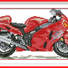 Yellow Motorbike Rea Car Canvas DMC Cross Stitch Kits 100% A