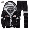 New Fashion Men Sweatshirt Winter Thick Hoodies Cotton Hoodie Coats Tracksuit Men Fleece Cardigans Mens 2PC Hoodies+Pants 2016