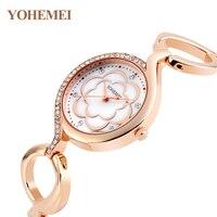 YOHEMEI Designer Women Watch Original Luxury Brand Wristwatch Female Flower Gold Bracelet Watch Lady Shell Dial