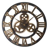 Handmade Oversized 3D retro rustic decorative luxury art big gear wooden vintage large wall clock on the wall 45cm