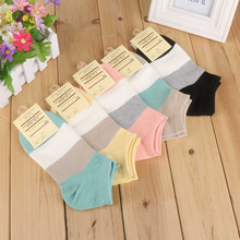 Sale 5 Pair/lots Women High quality Fashion Spring Autumn Cotton Leisure Wide Stripe Boat Socks Casual Girls