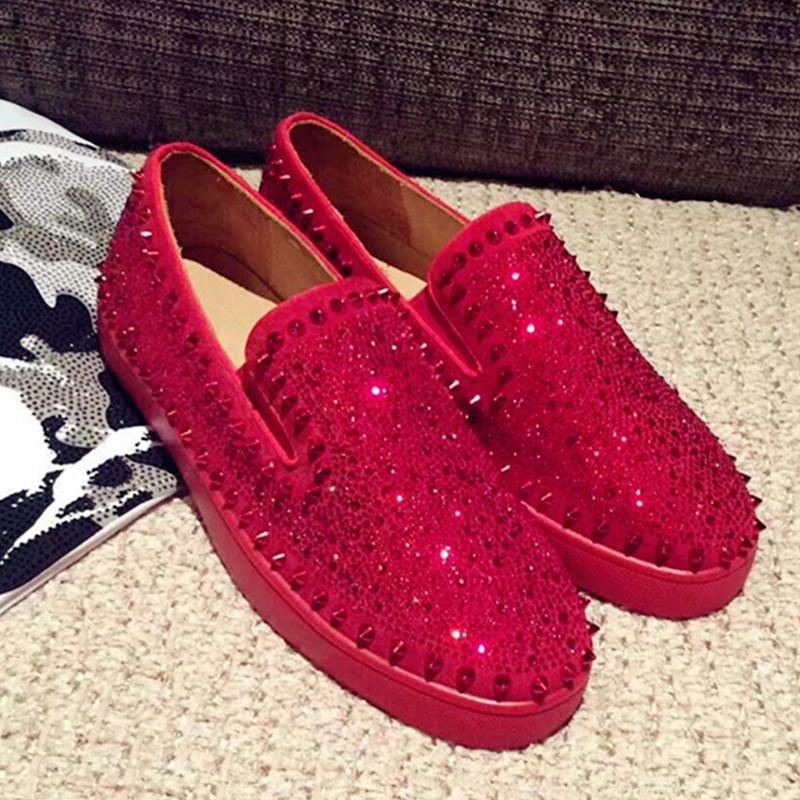 Hanbaidi Luxury WhitecSpiked Men Loafers Shoes Super Stars Bling Sequins Banque Wedding Shoes Slip On Rivets Men Shoes Moccasins