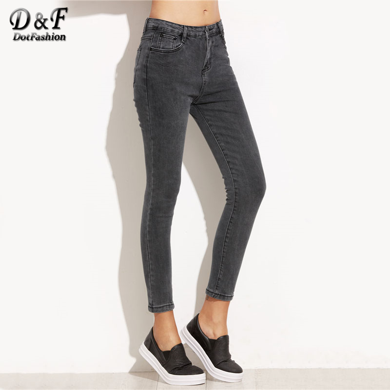 Dotfashion Women Skinny Ankle Trousers 2017 Mid Wais Pocket s