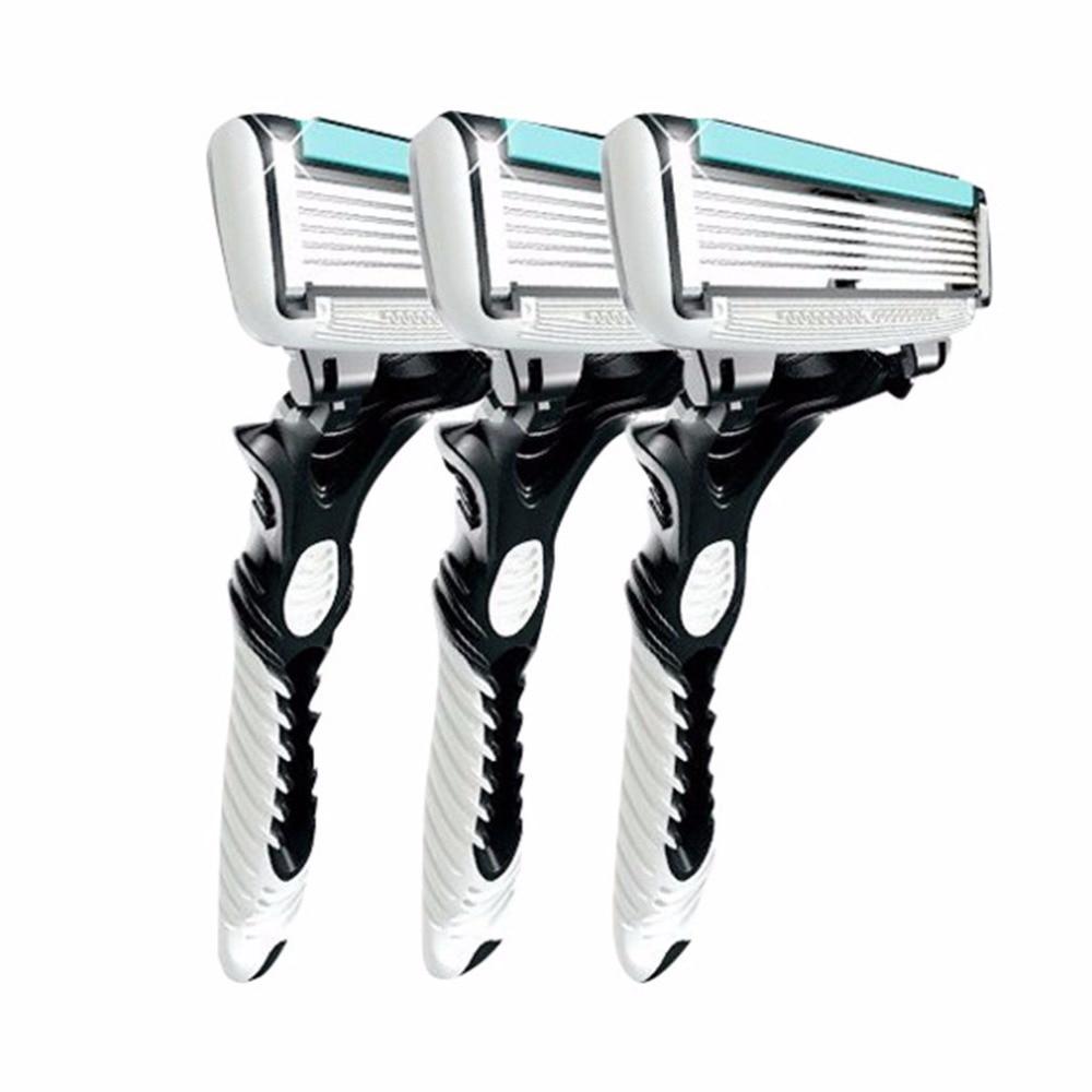 3pcs Men Safety Traditional Classic 6 Layers Blade Hair Shaving Razor Trimmer Manual Stainless Steel Shaving Machine Epilator