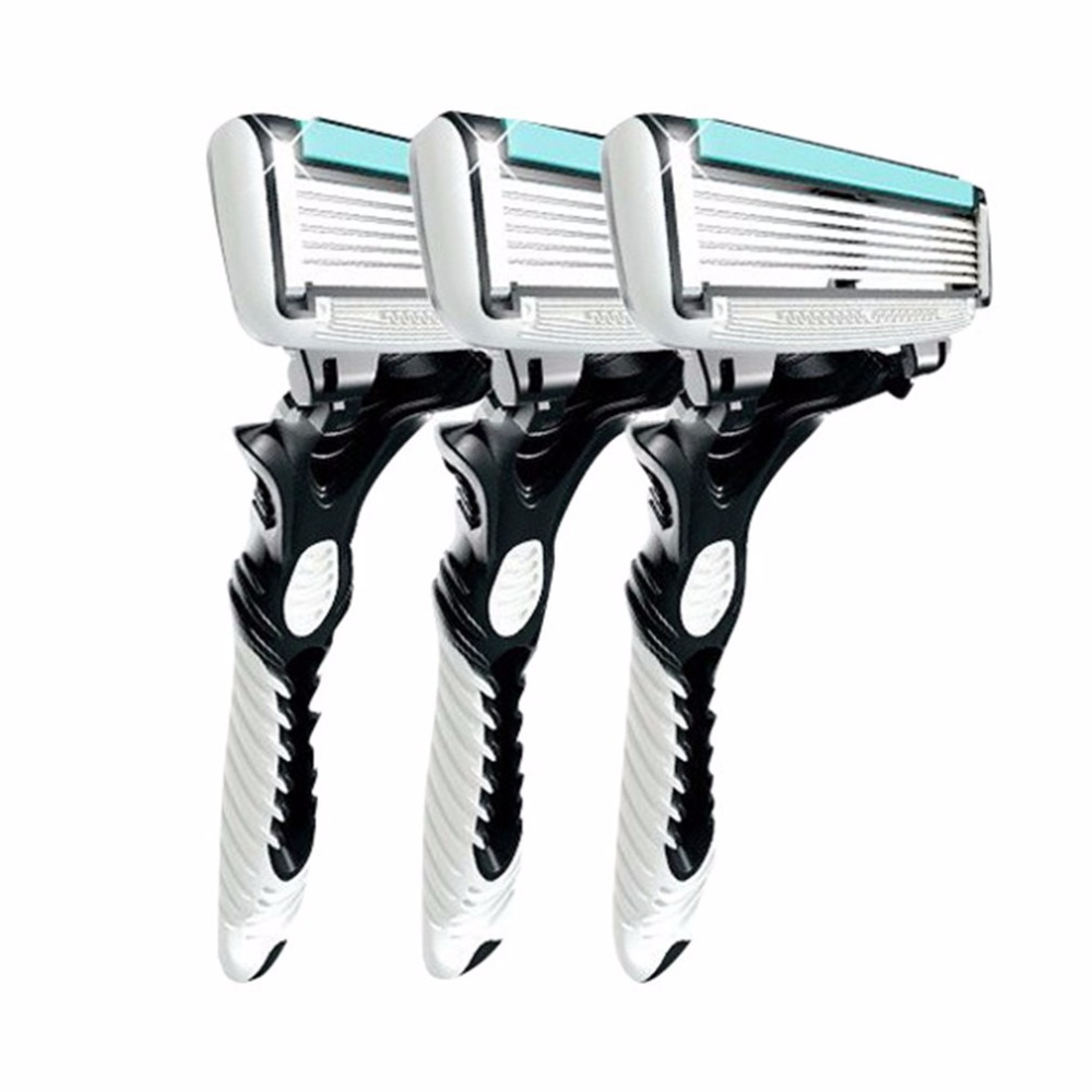 3pcs Men Safety Traditional Classic <font><b>6</b></font> Layers <font><b>Blade</b></font> Hair Shaving <font><b>Razor</b></font> Trimmer Manual Stainless Steel Shaving Machine Epilator image