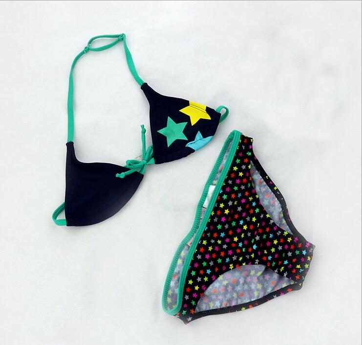 2019 Vaikai maudymosi kostiumėliai mergaitės mielas Žvaigždžių modelis Split Bikini Vasaros paplūdimys Bathingsuit Maillot de bain beautiful Biquini