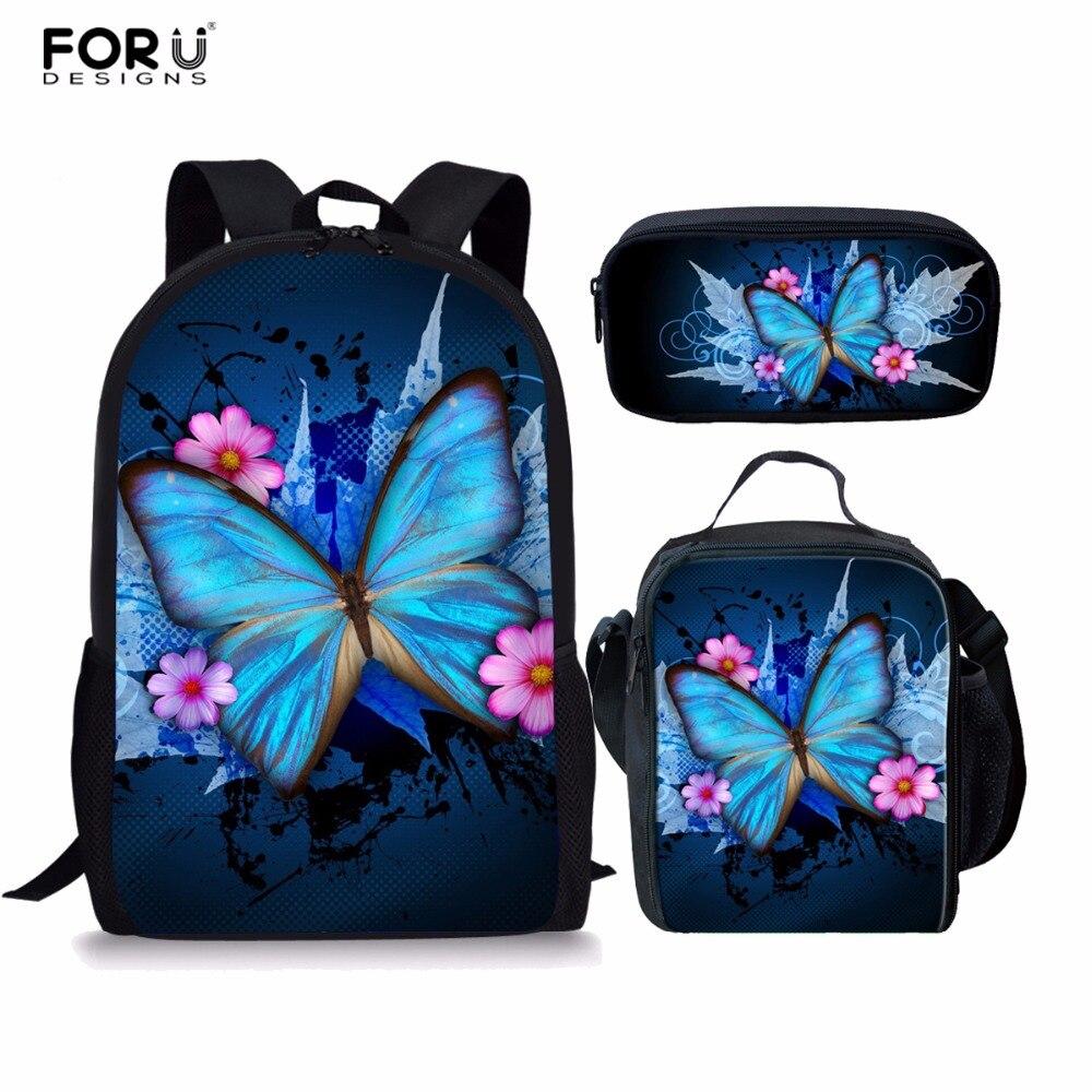 2bddbe1ba27f FORUDESIGNS/Детская школьная Рюкзаки Мода 3 шт./компл. с принтом бабочки  сумки