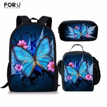 FORUDESIGNS Children School Backpacks Fashion 3 PCS/SET Butterfly Printing Shoulder Bags for Teenage Girls Cool Bookbags