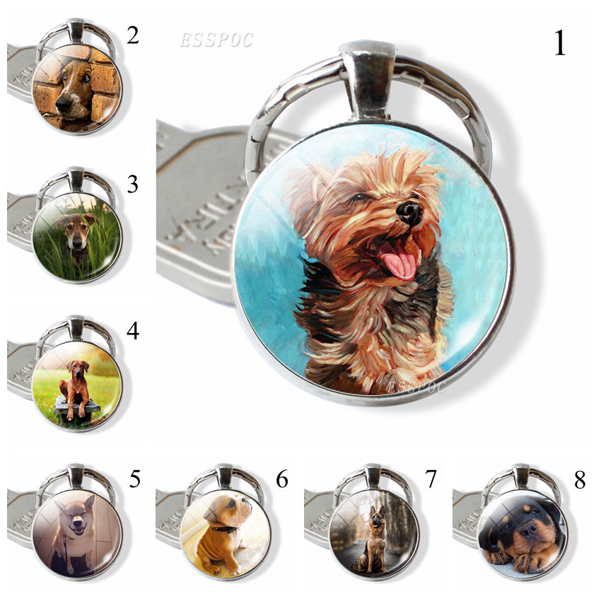Friend Gift Dog Key Chain Round Glass Cute Dog Pattern Jewelry German Shepherd Dog Accessory Dog Lovers Gift