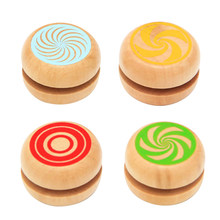1PC Baby Classic Toys Wooden Yoyo Toys Kids Intelligence Educational Toy Hand-Eye Coordination Development Yoyo Toy Random Color(China)