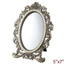 Европейские антикварные бронзовые с белым жемчугом и прозрачными кристаллами, украшенные кристаллами розы, дизайн 5x7 дюймов, овальное металлическое настольное зеркало