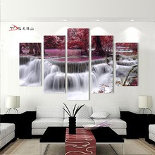 5 Piece Canvas Art Modern Printed  Painting Picture Forest Waterfall Wall Home Decor For Living Room Framed