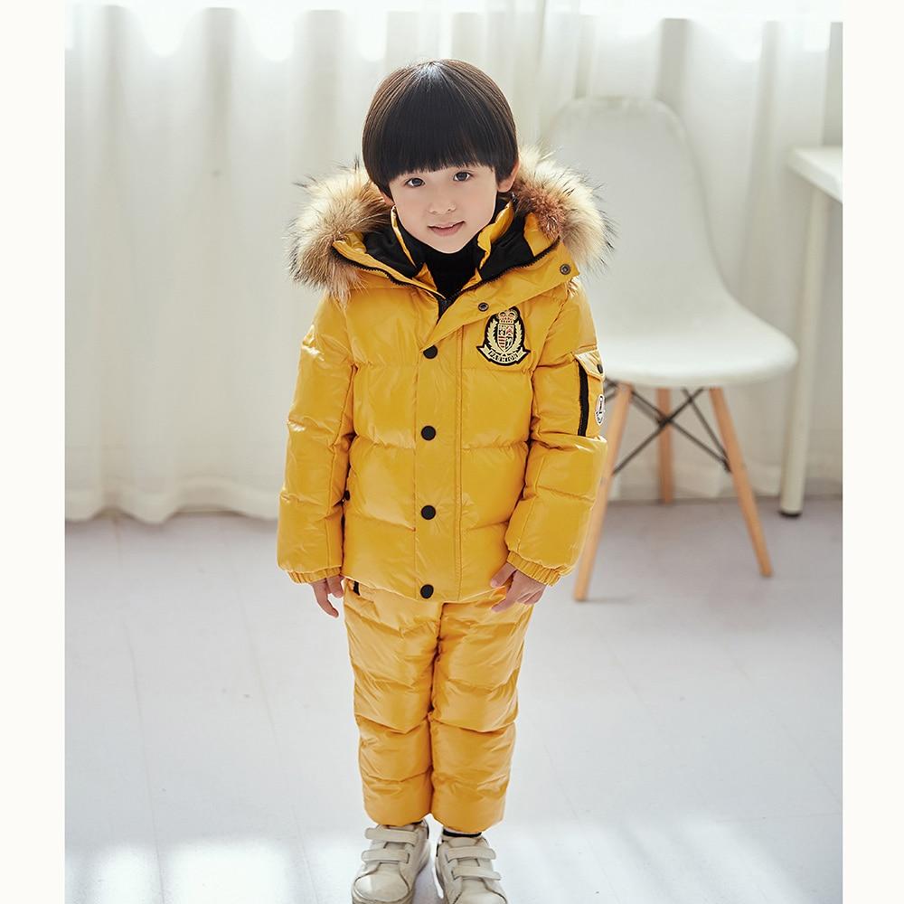 Enfants de Down Bib Garçons D'hiver Ensembles Filles En Plein Air Vêtements De Ski Chaud Vestes Bébé Sortir Plus Épais Vêtements