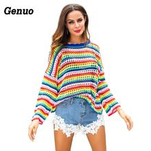 Genuo Colorblock Rainbow Striped Sweaters women patchwork jumpers hollow out knitted fashion bat sleeve oversized pullover top