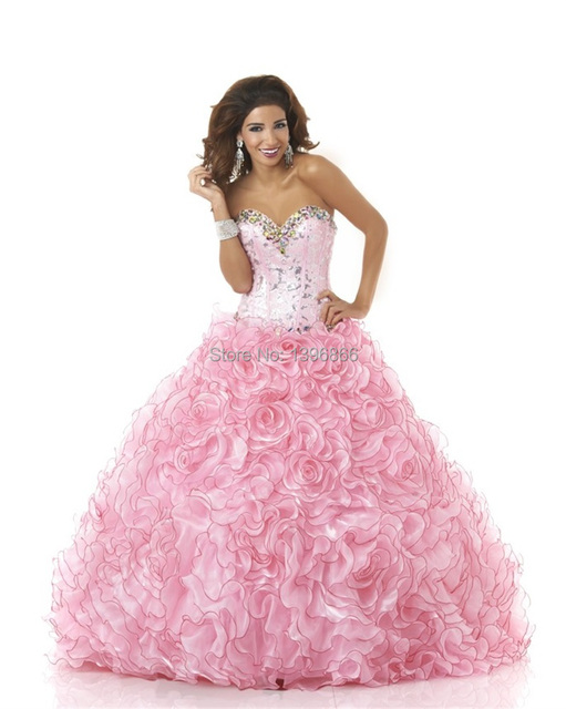 b556099957 Free Shipping Pink Puffy Quinceanera Dress Ball Gowns Beaded Masquerade  Flower Organza Ruffles Party Dress Vestido