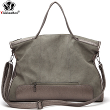 Vintage Nubuck Leather Handbags Famous Brand Big Ladies Hand Bags 2019 Large Shoulder Bag Luxury Handbags Women Bags Designer