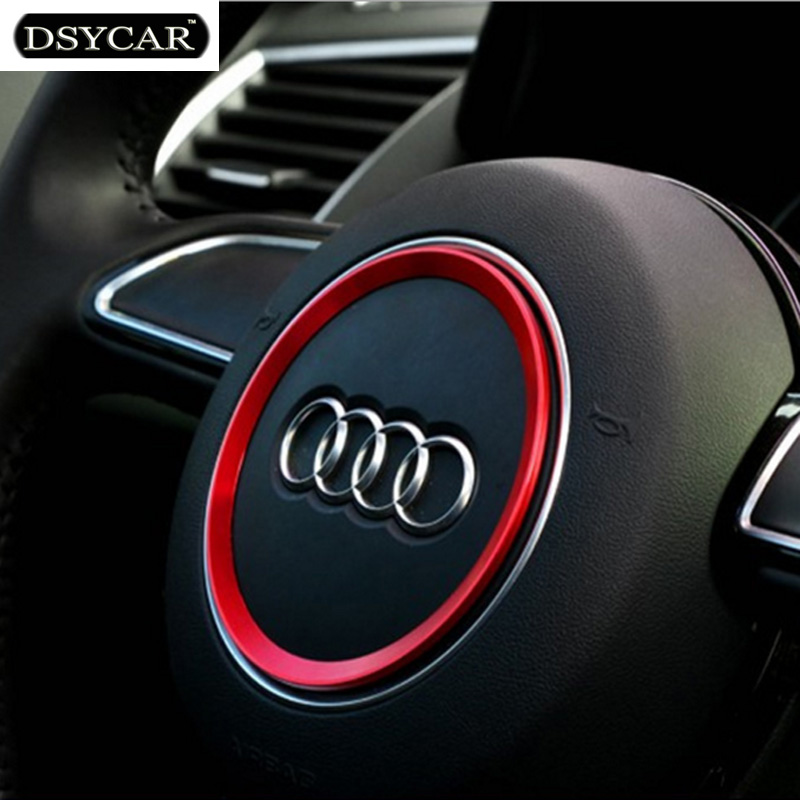 * DSYCAR Aviation aluminum alloy Car Steering wheel decoration ring sticker logo Decals Car styling for Audi A3 A4L Q3 Q5 A5 A6L dsycar 1pair car styling steering wheel zinc alloy shift paddles for land rover aurora freelander discoverer range rover jaguar