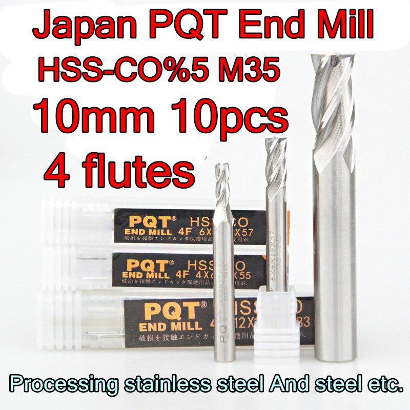 10 10 22 72mm 10pcs set 10mm petiole 4flutes Japan PQT HSS CO5 M35 End Mill