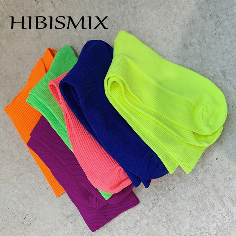 HIBISMIX Fashion Fluorescent Color Women Mid-Calf Socks Summer Thin Candy Colors Sock for Woman S0088