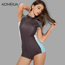 AONIHUA Professional One-Piece Swimsuit for Women 2018 NEW Long sleeve Slim Rash Guards female Push up swimming Suit 9007