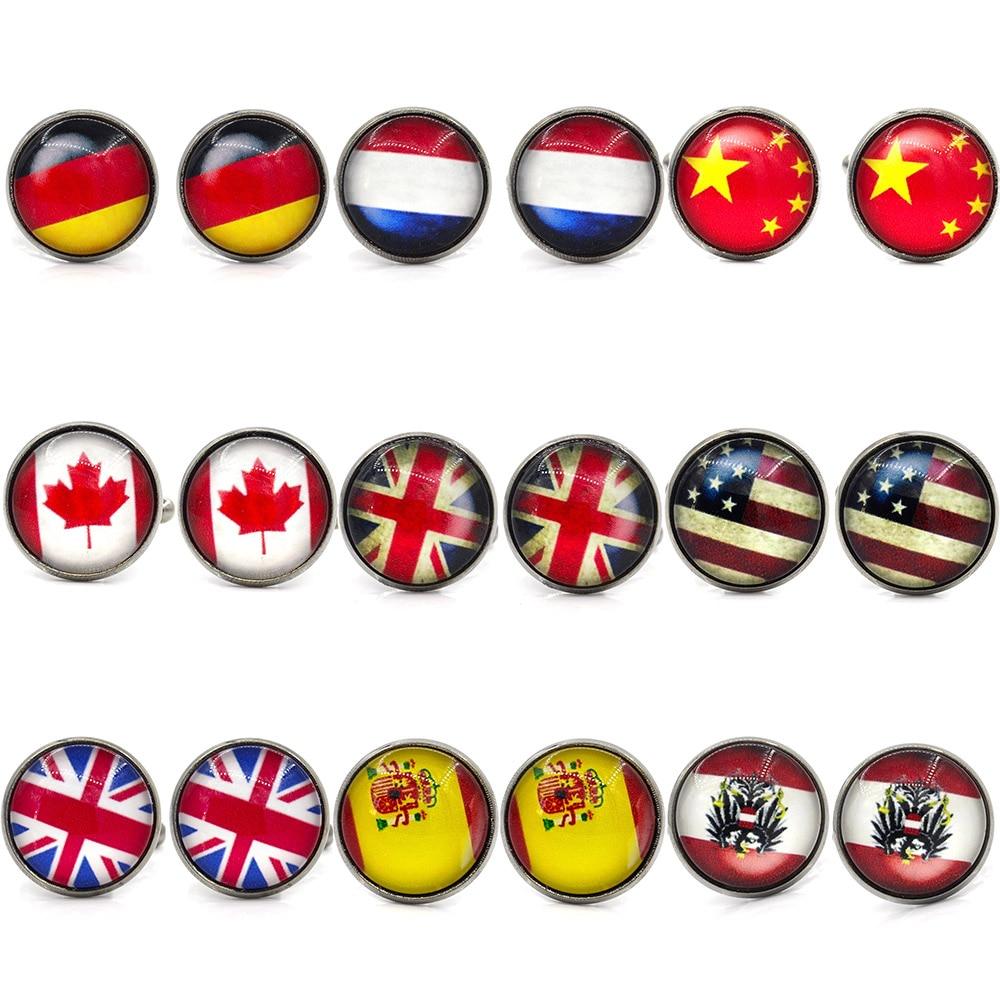 MeMolissa Hot Sale Novelty Vintage World Country Flag Cufflinks Flag Design Men's Shirt Cufflinks USA UK Gifts For Men