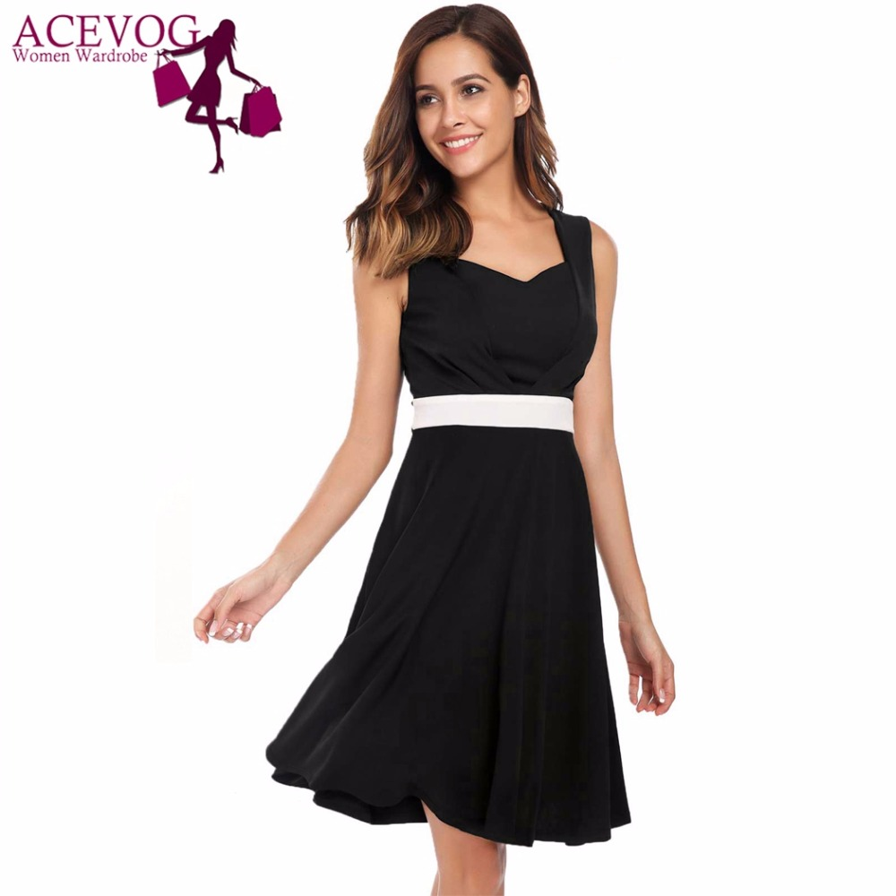 ACEVOG Women Drees Summer Vintage Sleeveless Patchwork Sweetheart Neck Knee  Length High Waist Cocktail Party Swing Dresses bad372e89