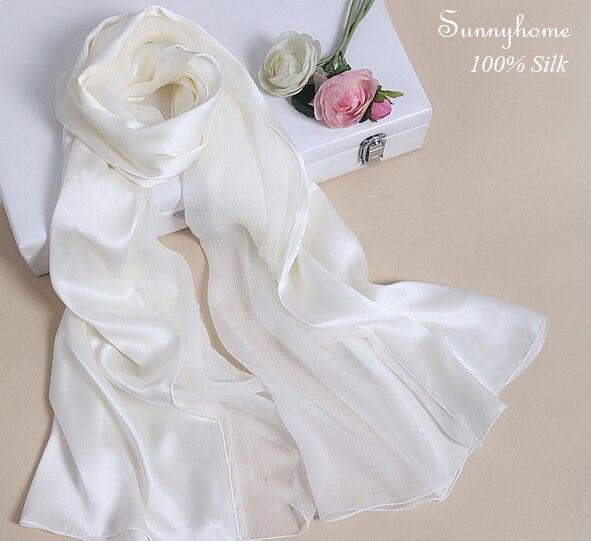 massimo stile ottima qualità alta moda US $46.95  100% puro raso di seta bianco scialle della rappezzatura Delle  Signore del progettista di marca di seta sciarpe pianura Moda viscosa hijab  ...
