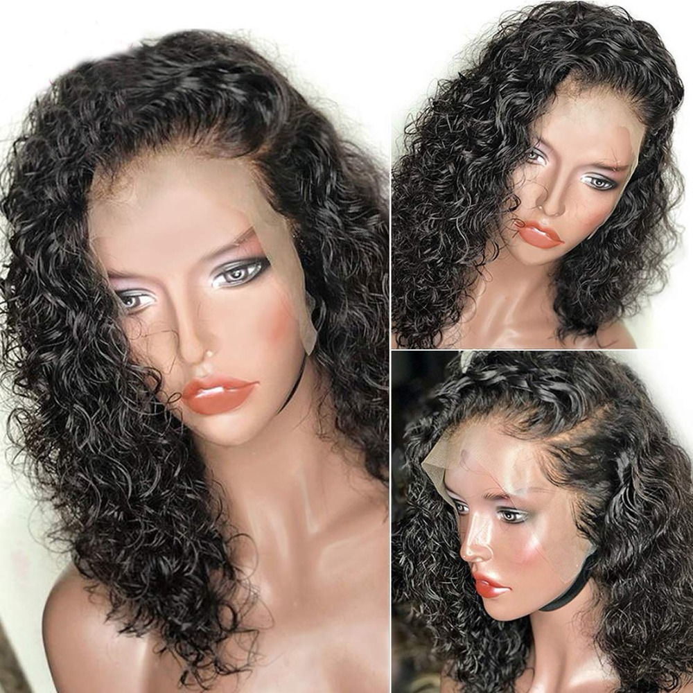 Eversilky Short Wig Water Wave Human Hair 360 Lace Frontal Wig Remy European Hair Curly Wig for Women Baby Hair Around(China)