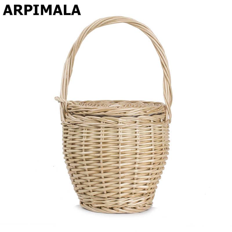 1c115d71fbcb ARPIMALA 2018 чешские соломы сумки Для женщин летние плетеные корзины сумка  маленькая модные пляжные Сумки женская