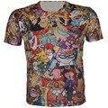 2016 crianças de verão nova moda roupa dos desenhos animados imprimir t-shirt 3D Cool Boy menina ocasional de manga curta t-shirt Fit altura 95 - 155 CM