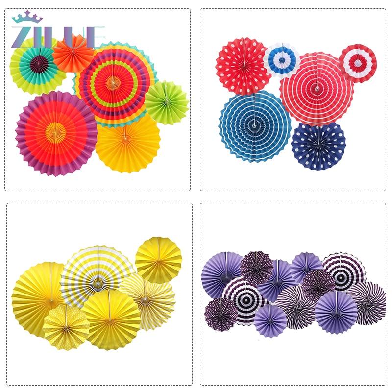 Zilue 6pcs/Set Colorful Wheel Tissue Paper Fans Flowers Balls Lanterns Party Decor Craft For Birthday Party Wedding Decoration