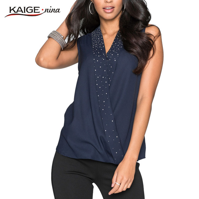 KaigeNina New Fashion Hot Sale Women Woven Yarn Sleeveless Shirts Appliques V-Neck Solid Blouse 1187